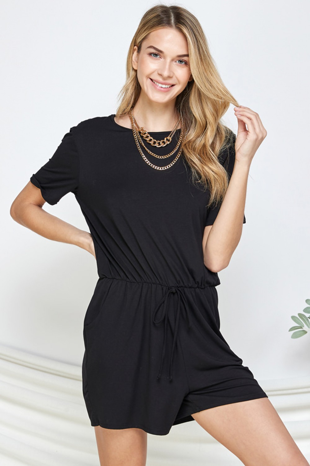 LJ1091<br/>SIRO MODAL BACK TIE ROUND NECK SHORT SLEEVE ROMPER WITH POCKET