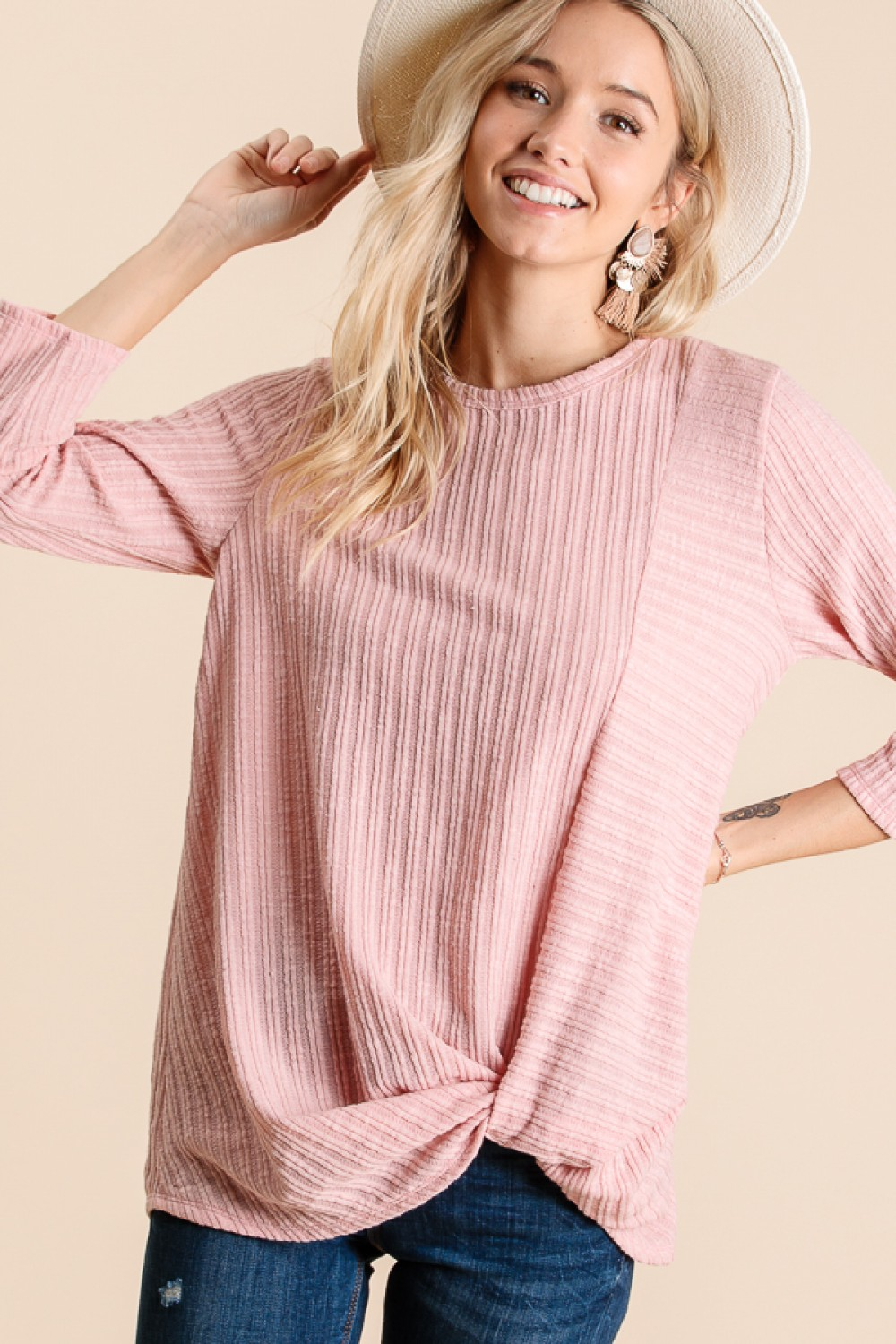 LT4024<br/>DOUBLE KNIT RIB ROUND NECK 3/4 FRONT TIE TOP :MADE IN USA